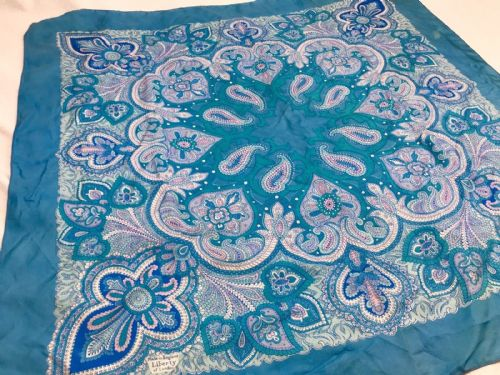 Vintage Liberty Of London Silk Ladies Scarf / Blue / Floral / Clothing